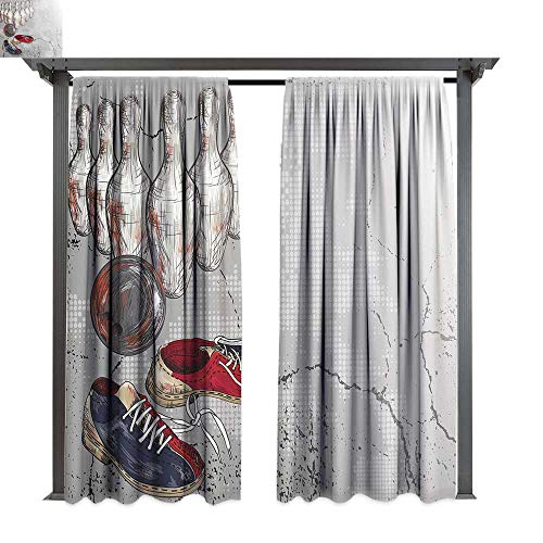 (Bowling Party Decorations, Outdoor Privacy Curtain for Pergola, Bowling Shoes Pins and Ball Artistic Grunge Style, Thermal Insulated Water Repellent Drape for Balcony (W84 x L84 Inches Light Grey Red)
