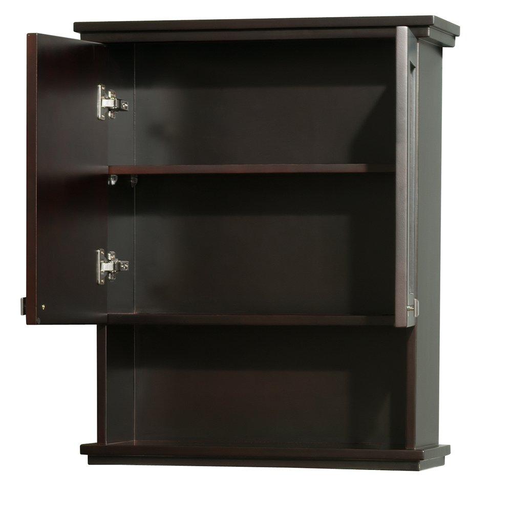 Wyndham Collection Acclaim Solid Oak Bathroom Wall-Mounted Storage Cabinet in Espresso