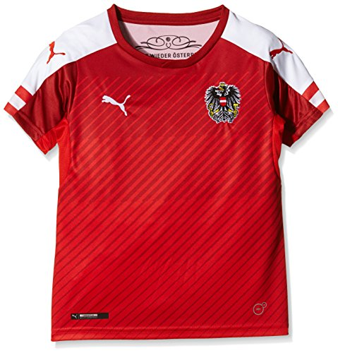 PUMA Kinder Trikot Austria Home Replica Shirt, Red/White, 128, 748685 01