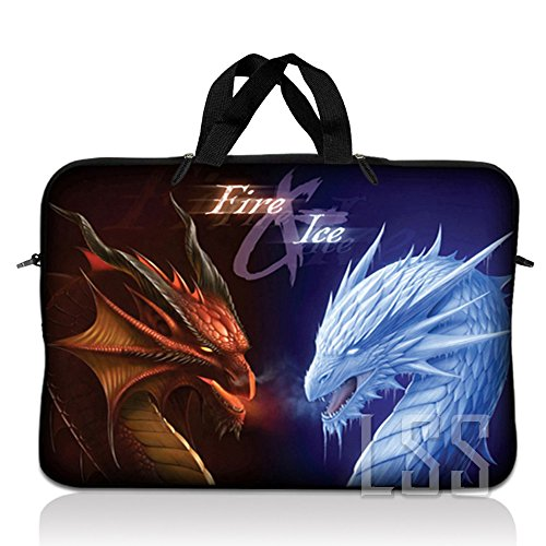 LSS 15.6 inch Laptop Sleeve Bag Compatible with Acer, Asus, Dell, HP, Sony, MacBook and more | Carrying Case Pouch w/Handle, Fire & Ice Dragons (Samsung Chromebook 2 11-6 Inch Classic White)