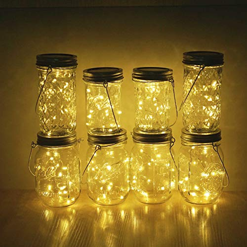 Miaro 6 Pack Mason Jar Lights, 10 LED Solar Warm White Fairy String Lights Lids Insert for Garden Deck Patio Party Wedding Christmas Decorative Lighting Fit for Regular Mouth Jars with Hangers by Miaro (Image #4)'