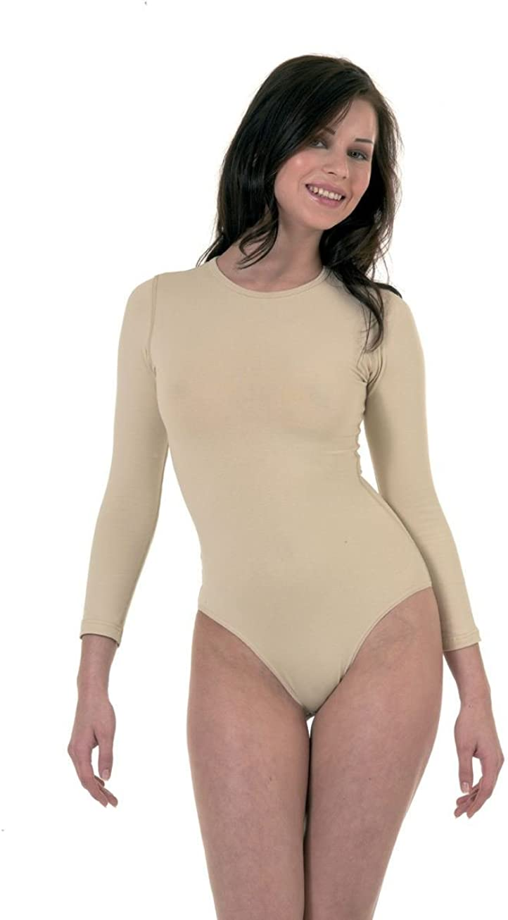 Elegance Womens Stretchy Cotton Round Neck Long Sleeve Bodysuits