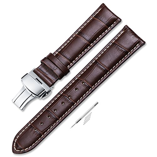 iStrap 22mm Calf Leather Stitched Replacement Watch Band Push Button Deployment Buckle Strap Brown