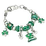 Rosemarie Collections Women's Irish Shamrock Claddagh Glass Bead Charm Bracelet