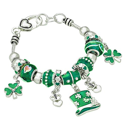 Rosemarie Collections Women's Irish Shamrock Claddagh Glass Bead Charm Bracelet