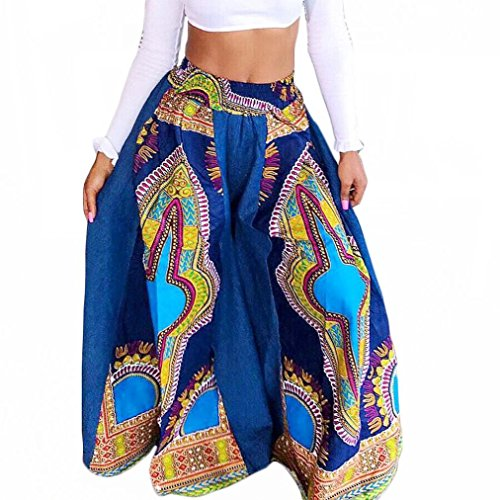 Euone Women Dashiki African Prints Sexy High Waist Wide Leg Pants (XL, Sky Blue) (Gauze Pant Leg)