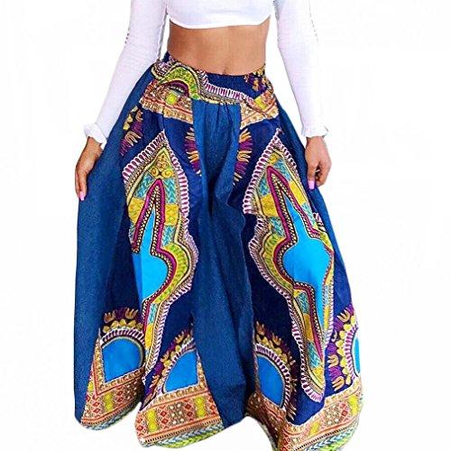 Euone Women Dashiki African Prints Sexy High Waist Wide Leg Pants (XL, Sky Blue) (Pant Leg Gauze)