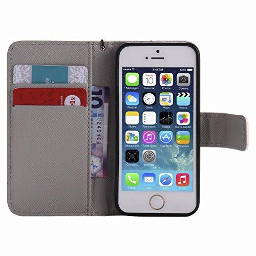 Custodia Apple iPhone 5s / iPhone SE Cover Case, Ougger Portafoglio PU Pelle Magnetico Stand Morbido Silicone Flip Bumper Protettivo Gomma Shell Borsa Custodie con Slot per Schede, Skull