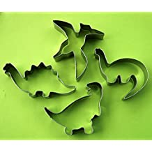 LAWMAN Dinosaur Cookie Cutter Set Dino Jurassic Fondant Biscuit Fruit Metal Cutter Mold 4 pcs