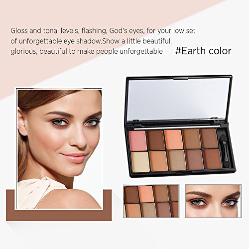 10Color Gorgeous Must Have Eyeshadow Palette Makeup, Highly Pigmented Professional Eyes Makeup, Great Size for Daily Carry On, Super Smooth Brush Inside (Brown)
