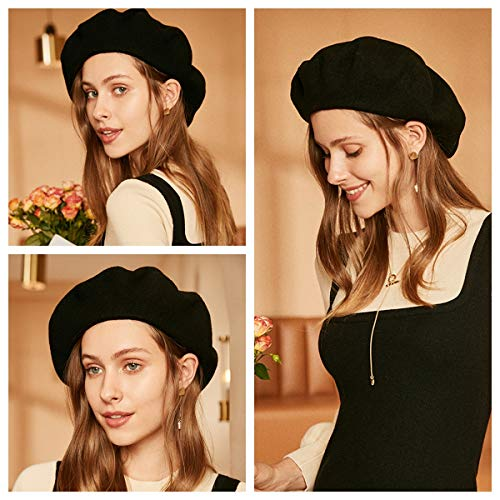 ENJOYFUR Womens Winter Beret Hat Wool Knitted Cap Autumn Winter Hat French Classic Beret