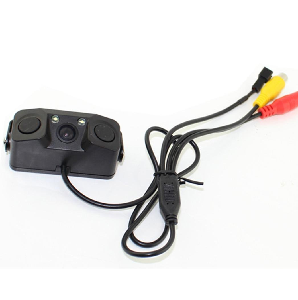 Car Backup Camera, Dacawin 170-degree viewing angle waterproof 8LED lights square head reversing camera (Black)