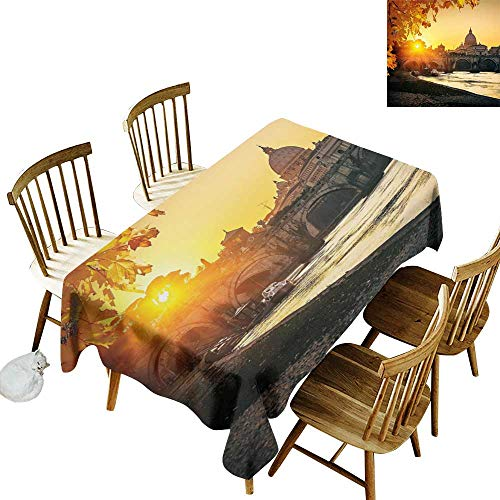 W Machine Sky Dustproof Rectangular Tablecloth Fall Sunset at Tiber River St Peter Rome City Italy Basilica Touristic Ancient W60 xL84 for Family Dinners,Parties,Everyday Use]()