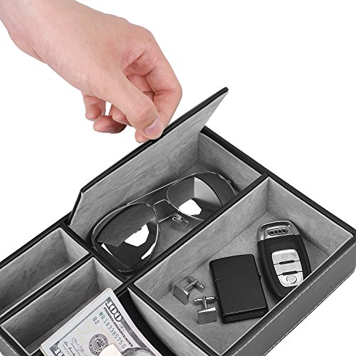 Valet Tray, 5 Compartments PU Leather Dresser Valet Organizer for Watches and Jewelry by Juns (Image #2)
