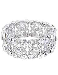Ever Faith Austrian Crystal Gorgeous Bridal X-Shaped Knot Elastic Stretch Bracelet