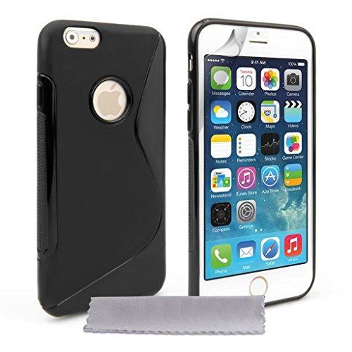 Custodia protettiva morbida Sline NERO di Silicone TPU Case Cover per Iphone 6 - Cover + Pellicola Protettiva Schermo Originale EASYPLACE®