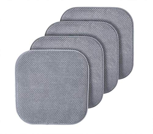 (GoodGram 4 Pack Ultra Soft Surface Non Slip Honeycomb Premium Comfort Memory Foam Chair Pads/Cushions - Assorted Colors (Silver/Gray))