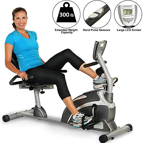Exerpeutic 900XL 300 lbs. Weight Capacity Recumbent Exercise Bike with Pulse (Renewed)