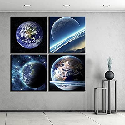 Link Line Wooden D House Room Dining Hall Kitchen Office Art Blue Black Universe The Earth Oil Paintings On Canvas For Wall Decor