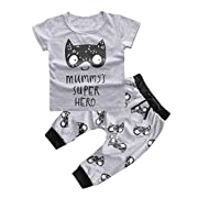 1Set Newborn Baby Boys Girls Outfit Printed T-shirt Tops+Pants Clothes (0-3 Months)