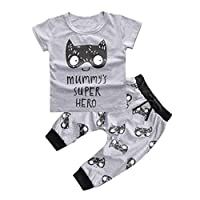 1Set Newborn Baby Boys Girls Outfit Printed T-shirt Tops+Pants Clothes (0-3 M...