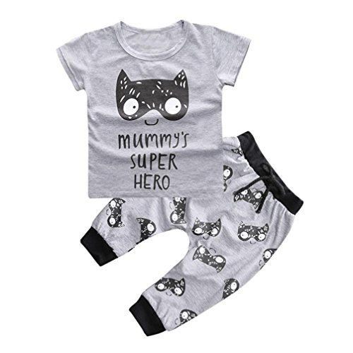 2pcs Baby Boy T-shirt Tops+Pants Casual Outfits (White+Black) - 9