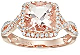 14k Rose Gold Morganite and Diamond Cushion Infinity Shank Engagement Ring (1/4cttw, H-I Color, SI1-SI2 Clarity), Size 6
