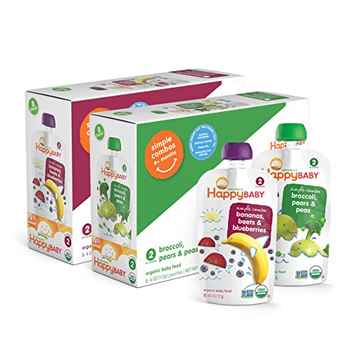 Happy Baby Organic Stage 2 Baby Food, Simple Combos, Beets & Blueberries and Broccoli Pears & Peas, 4 Ounce, 8 count (Pack of 2)