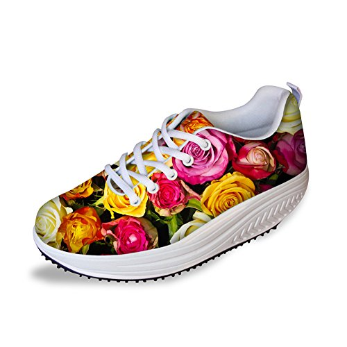 HUGS IDEA Sweety Style Flowers Mesh Wedges SHoes Platform Sneakers Floral 13 v1YK4t6as