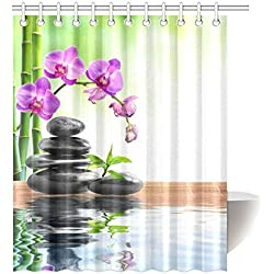 InterestPrint Japanese Zen Garden Home Decor, Spa Stone Purple Orchids Bamboo Water Polyester Fabric Shower Curtain Bathroom Sets 60 X 72 Inches