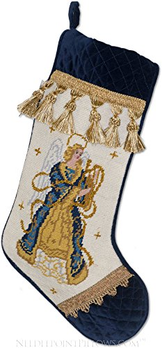 Needlepoint Blue (Traditional Williamsburg 100% Wool & Velvet Handmade Angel Blue and Gold Thread Needlepoint Christmas Stocking. 11