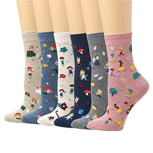 - LIVEBEAR 4/5/8 Pairs Womens Cute Patterns, Novelty, Casual Cotton Crew Socks Made In Korea (Fairy Tales)