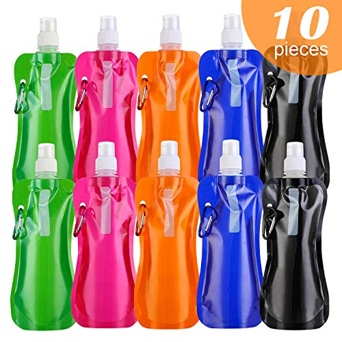 - ibaye Travel Collapsible Water Bottle, 480mL Foldable Sports Water Bottles BPA Free Leakproof Drinking Water Bottle with Aluminum Carabiner for Biking, Backpack Travel,Camping, School, 5 Colors