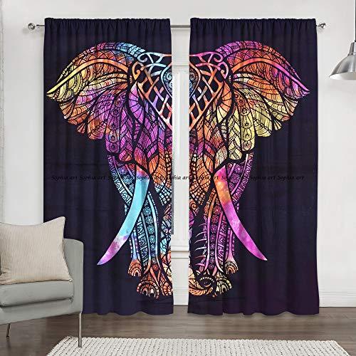 Multi Hippie Elephant Bohemian Hippie Mandala Curtain Kitchen Window Curtains Curtain & Valance Set Dorm Tapestry,Indian Drape Balcony Room Decor Curtain Boho Set Hippie Curtain Panel (Multi)