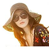 Women Girls Foldable Bohemia Wide Brim Roll-up Crocheted Straw Hat Beach Sun Visor Cap for Holiday Travel