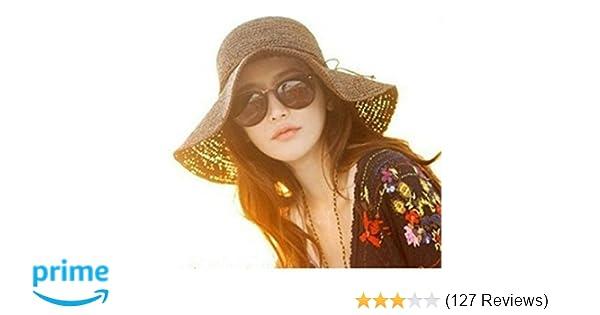 e18656500 luzen Women Girls Foldable Bohemia Wide Brim Roll-up Crocheted Straw Hat  Beach Sun Visor Cap for Holiday Travel