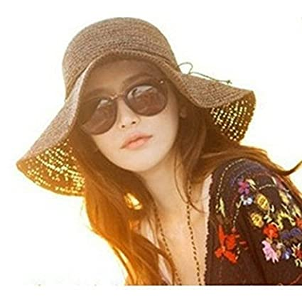 2d163ed7cad Amazon.com  luzen Women Girls Foldable Bohemia Wide Brim Roll-up Crocheted  Straw Hat Beach Sun Visor Cap for Holiday Travel  Sports   Outdoors