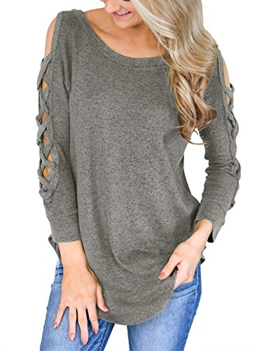 Cut Out Long Sleeve (Sidefeel Women Cut Out Long Sleeve Blouse Casual Cold Shoulder Tops X-Large Grey)