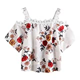 Women Off Shoulder Lace Floral Blouse Short Sleeve Casual Tops T-Shirt (L, White)