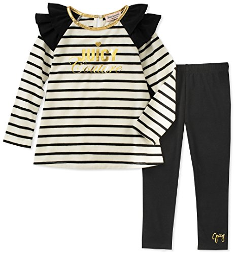 Juicy Couture Girls' Toddler 2 Pieces Tunic Legging Set, Black/Vanilla, ()