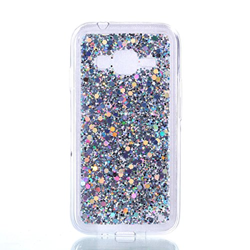 Galaxy J1 mini prime Case,Gift_Source [Ultra-Thin] Flexible TPU Gel Rubber Luxury Sparkle 3D Bling Diamond Glitter Paillette Cover Shock-Absorption Bumper Case for Samsung Galaxy J1 mini prime[Silver]