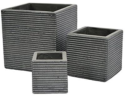 Cubes Lines Natural Cement Fiber Planter Set, Color: Charcoal