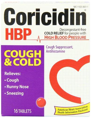 Coricidin HBP antihistamínico tos y tabletas supresor frío para personas con presión arterial alta, cajas 16-Count (paquete de 3)