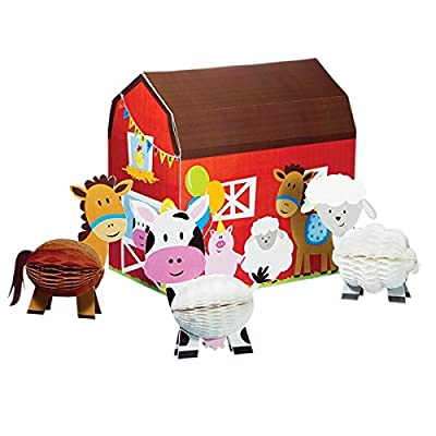 Farm Party Decorations - Birthday Banner, Tablecloth, Barn Backdrop, Farm Animal Centerpiece, Pin The Tail on the Cow Game - Perfect Supplies for Farm Theme Birthday Party!: Toys & Games