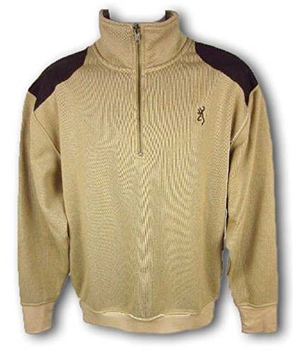 (Browning Mens Buckmark Tombstone Sweater 1/4 Zip Pullover Sandstone Size Large)