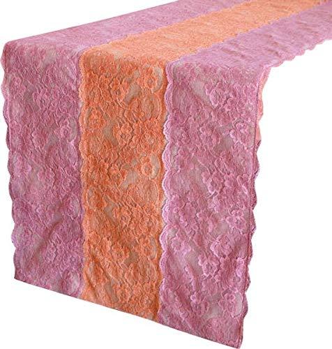ベージュテーブルランナー35 x 300 cm, リネン&レースベージュ  リネン生地に刺繍されたレースコットンエレガントな結婚式のテーブルのリネンモダンなカーペット 35 x 300 cm  B07CY19S4K