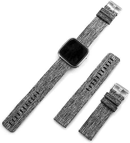 Gransho Bracelet Montre Compatible avec Fitbit Versa, Bracelet en Remplacement en Tissu Souple de Toile Sangle (Gris Foncé)