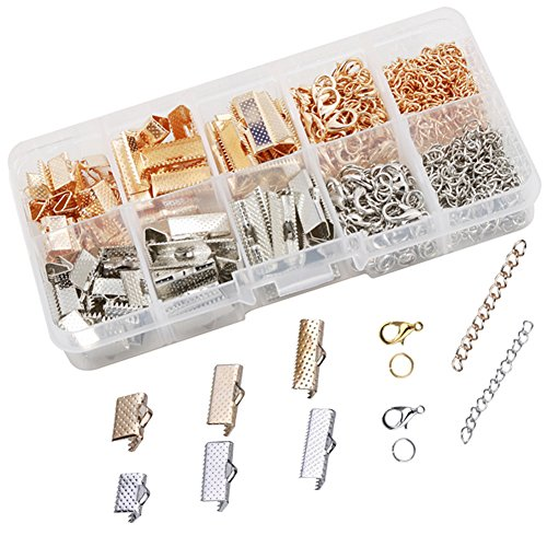 Dcatcher Ribbon Bracelet Kit Bookmark Pinch Crimp Ends Lobster Clasps with Jump Rings and Chain Extenders, 6 Assorted Parts with 2 Colours