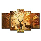 5D Diamond Painting Kits Full Drill Diamond Embroidery,5 Sets of Splicing Paintings (Deer)