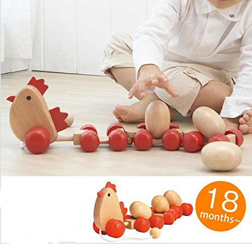 URToys Wooden Baby Walk Learning Accessory Trailer Toy Cute Wooden Chick Pulls Along With 3 Eggs Train Carts Early Educational Toy Kids Children Gifts